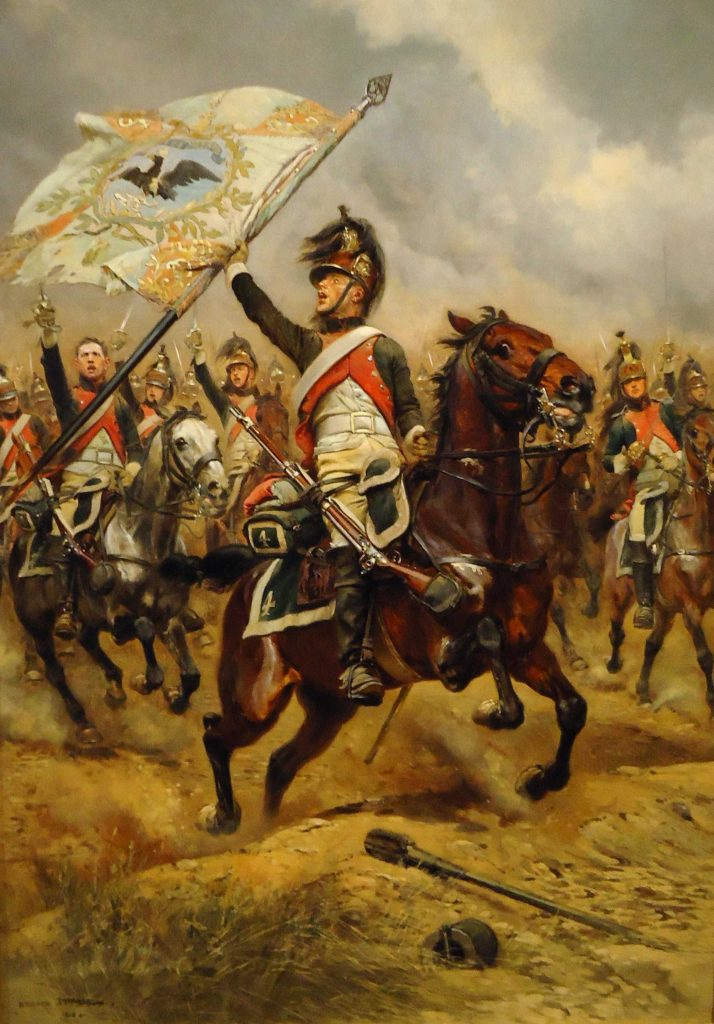 French dragoon with a captured Prussian standard at the Battle of Jena